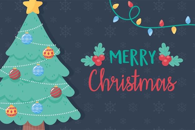 Árvore decorativa de feliz natal com bolas estelares e ilustração de cartão de luzes