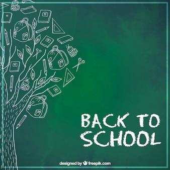 Árvore desenhada a mão com materiais escolares sobre ela