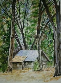 Árvore desenhada à mão em aquarela, ilustração de paisagem natural