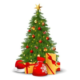 Árvore do abeto com decorações, presentes e chapéu de papai noel
