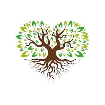 Árvore do amor com modelo de logotipo raiz