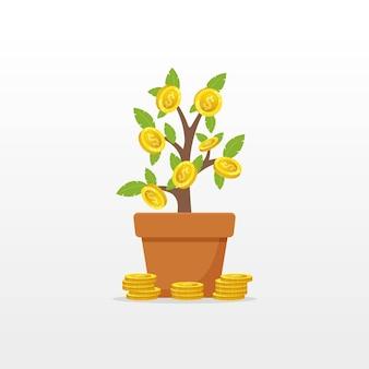 Árvore do dinheiro com objeto de vetor de moeda