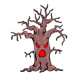 Árvore do tronco do monstro com o rosto assustador para a inspiração do livro de histórias de terror