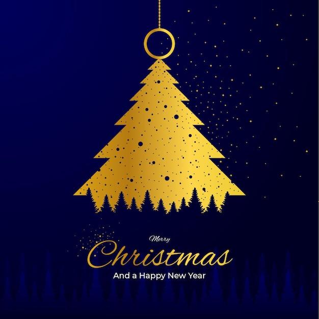 Árvore dourada nevando feliz natal e feliz ano novo