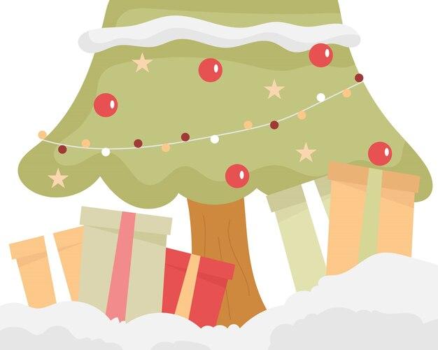 Árvore e caixa de presentes para o natal