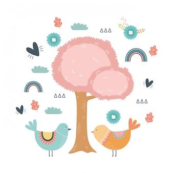 Árvore e desenho de pássaro