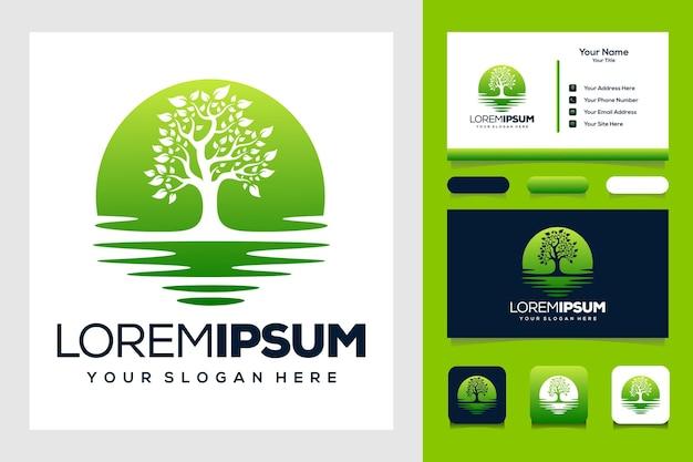 Árvore e design de logotipo do mar e cartão de negócios