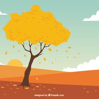 Árvore e paisagem de outono desenhada mão