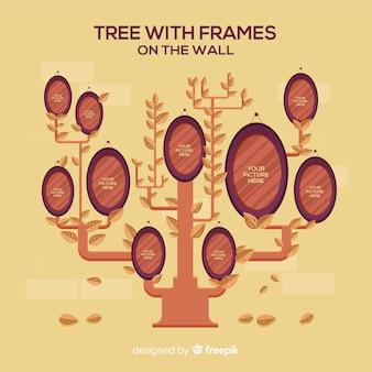 Árvore e vários quadros