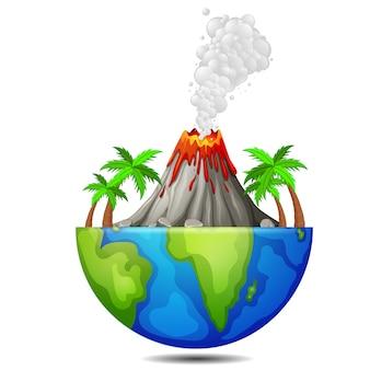 Árvore e vulcão na terra