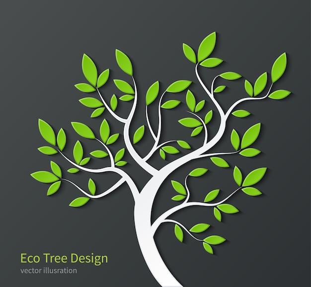 Árvore estilizada com galhos e folhas verdes isoladas em fundo escuro.