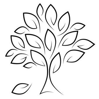 Árvore estilizada com silhueta de folhas pretas sobre fundo branco