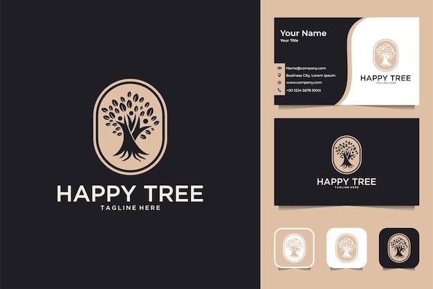 Árvore feliz com design de logotipo de pessoas e cartão de visita
