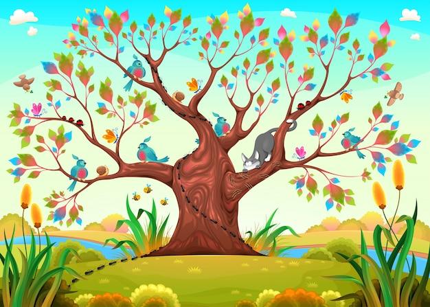 Árvore feliz com pássaros, insetos e gato