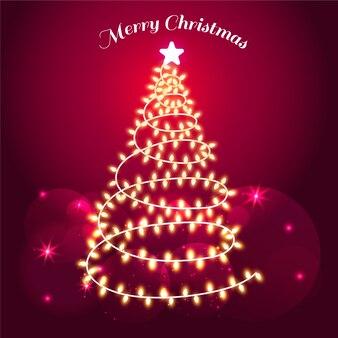 Árvore festiva feita de lâmpadas