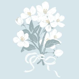 Árvore florescendo. mão desenhada buquê de ramos de flor branca botânica