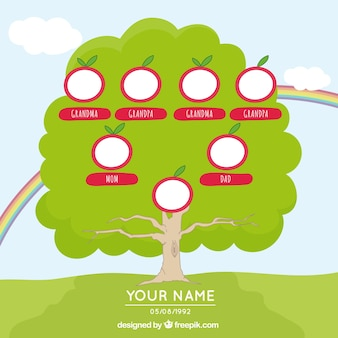Árvore genealógica desenhada à mão com arco-íris e vermelhas elementos