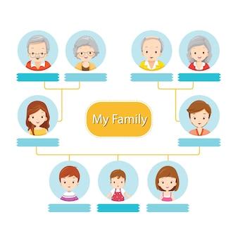 Árvore genealógica feliz, infográfico de relacionamento