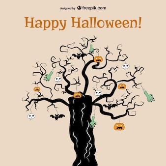 Árvore horror de halloween vector background