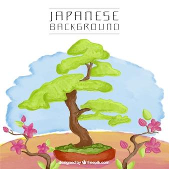 Árvore japonesa fundo da aguarela