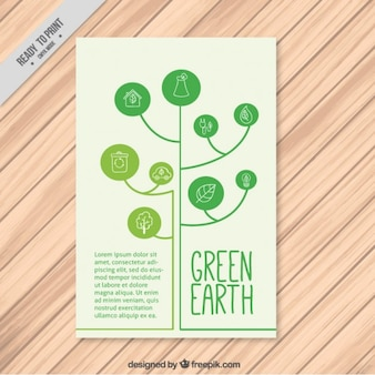 Árvore moderna com círculos eco panfleto