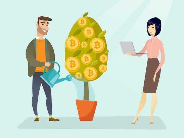 Árvore molhando do homem de negócios com símbolos do bitcoin.