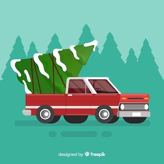 Árvore natal, ligado, caminhão pick-up