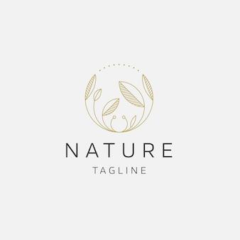 Árvore natural flor elegante cor ouro logotipo ícone projeto modelo ilustração vetorial plana
