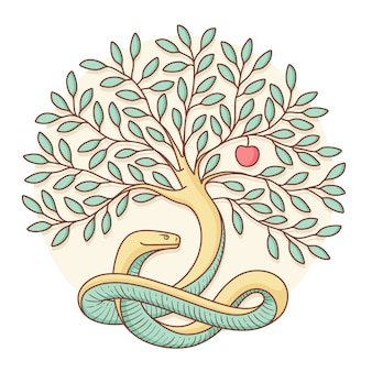 Árvore o conhecimento do bem e do mal com cobra, maçã. projeto colorido. ilustração vetorial