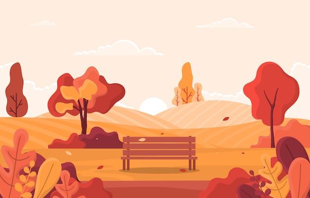 Árvore outono estação outono paisagem panorâmica colina amarela dourada