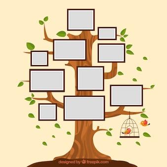 Árvore plana com quadros na parede