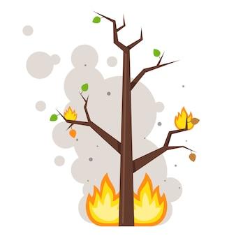 Árvore queimada. chama nos galhos. nuvens de fumaça. ilustração vetorial plana