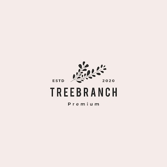 Árvore ramo folha logotipo hipster vintage retrô
