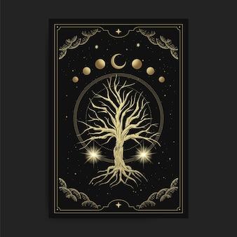 Árvore sagrada mágica com fases da lua celestial e decoração de estrelas em um luxuoso estilo desenhado à mão