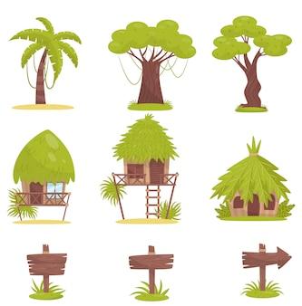 Árvore tropical, bungalows e sinais de trânsito de madeira velhos, elementos da paisagem da floresta tropical da selva ilustração sobre um fundo branco