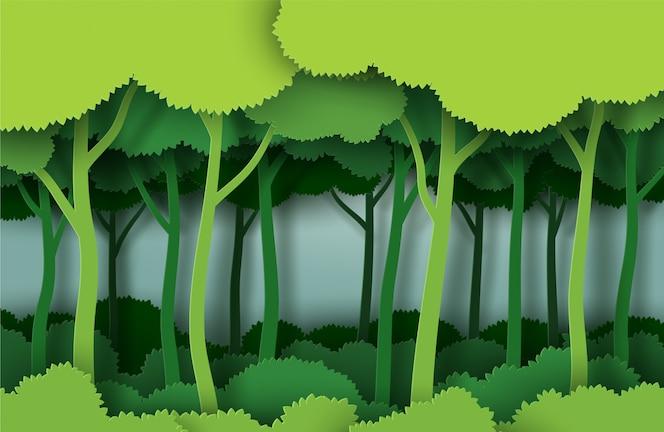 Árvore verde abstrata na floresta no estilo de arte de papel de ilustração vetorial.