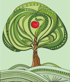 Árvore verde e ilustração de maçã vermelha