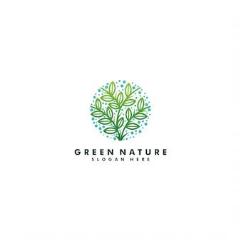 Árvore verde logotipo modelo design ilustração
