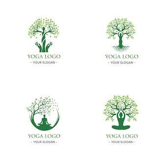 Árvore verde natural e logotipo de ioga mulher relaxamento