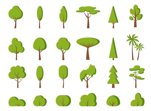 Árvore verde primavera, conjunto de desenhos animados plana de arbusto.