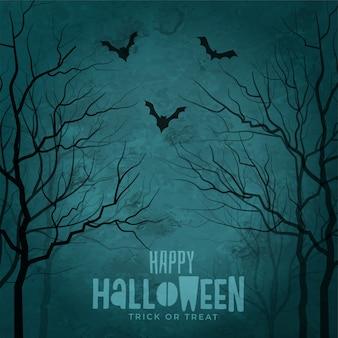 Árvores assustadoras com morcegos voando halloween