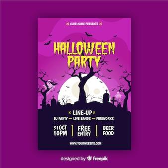 Árvores assustadoras em cartaz de festa de halloween luz roxa