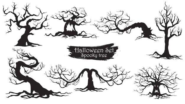 Árvores assustadoras silhueta coleção de halloween