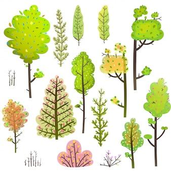 Árvores bush verde floresta clipart coleção