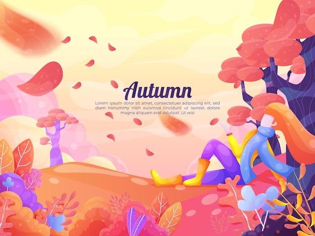 Árvores coloridas de fundo de outono