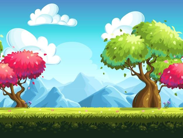 Árvores coloridas sem costura em uma floresta com montanhas como pano de fundo