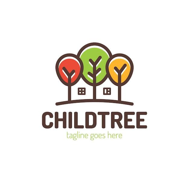 Árvores com design de logotipo em casa.