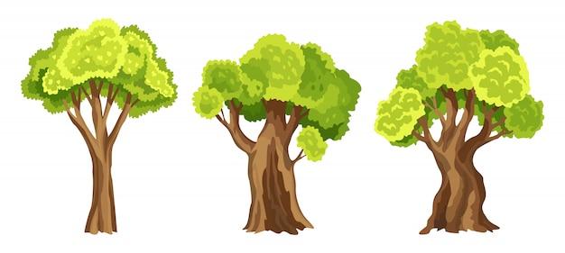 Árvores com folhagem verde. conjunto de árvores estilizadas abstratas. folhagem em aquarela. ilustração natural