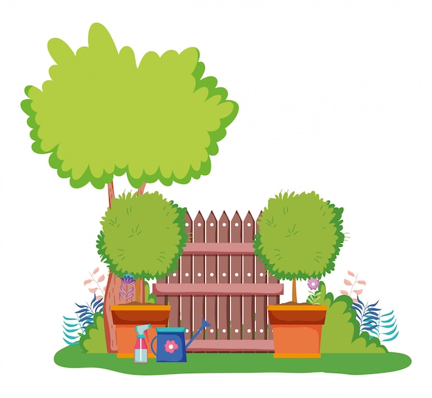 Árvores, com, madeira, grillage, e, lata molhando