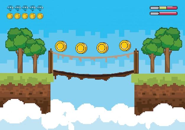 Árvores com moedas na ponte suspensa e barras de vida